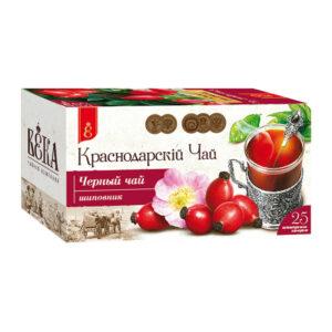 Melnā tēja ar mežrozīšu garšu paciņās «Краснодарскiй» (25 gb 1.7 gr) 43g