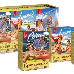 """Krasnodaras tējas kolekcija """"Курорты России"""" (3 x 100 g) 300g"""