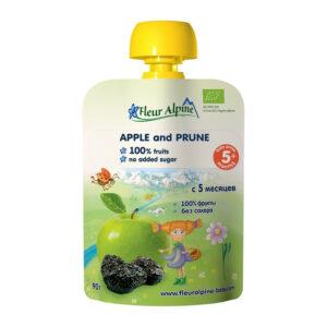 Ābolu un žāvētu plūmju biezenis Fleur Alpine Organic bērniem no 5 mēnešu vecuma 90g