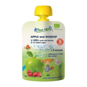 Ābolu un mežrozīšu Fleur Alpine Organic bērniem no 5 mēnešu vecuma 90g