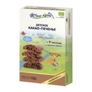 Kakao cepumi Fleur Alpine Organic bērniem no 9 mēnešu vecuma 150g